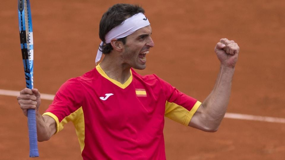 Spain's Albert Ramos celebrates after beating Great Britain's Cameron Norrie at the Puente Romano tennis club in Marbella, on Sunday.Spain beat Britain in the Davis Cup World Group first round tie to progress into the quarterfinals.