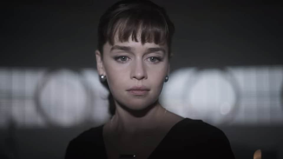 Emilia Clarke in a still from the Solo: A Star Wars Story trailer.