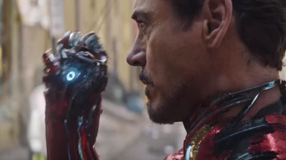Robert Downey Jr as Iron Man in a still from the Avengers: Infinity War trailer.