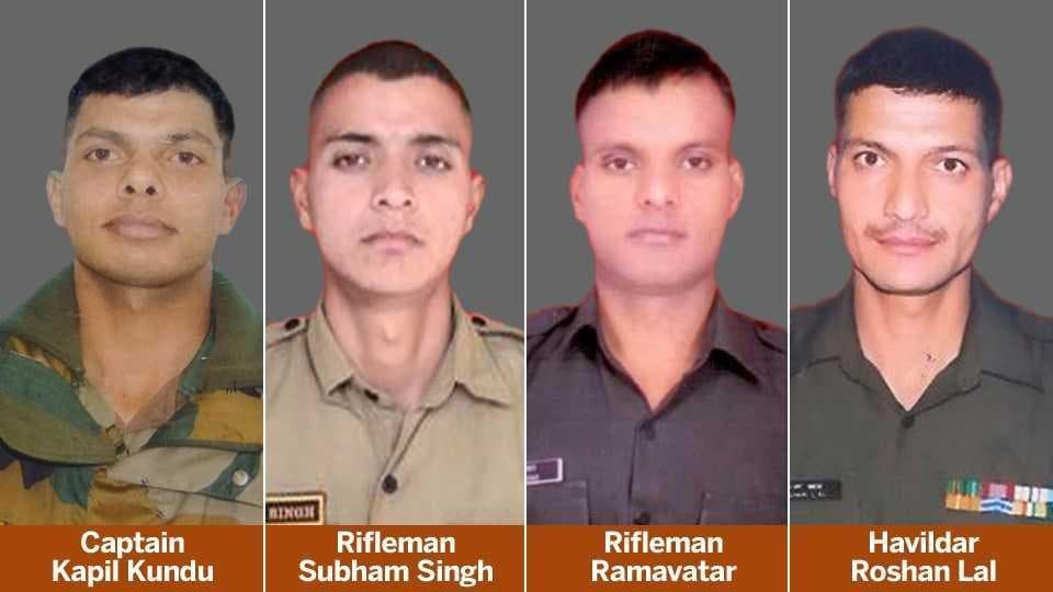 Four army personnel were killed in Pakistani firing along the Line of Control (LoC) in Tarkundi and Sunderbani areas of Rajouri , Jammu and Kashmir, on Sunday.  Lal is the last (clockwise) in this combo photograph of the soldiers killed.