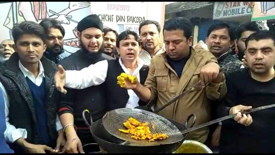 Youth protesting against the recent pakoda remark of the Prime Minister Narendra Modi.