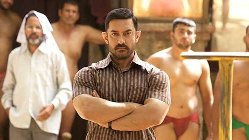 Aamir Khan in the role of a fit, muscular and younger Mahavir Phogat in a still from Dangal (2016).