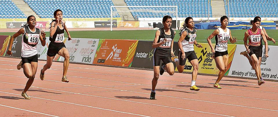 Avantika (centre, in black) won the 100 metres for girls at the Khelo India School Games in a time of 12.36 seconds.