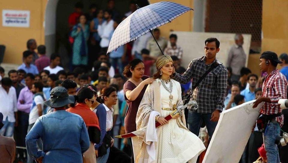 Kangana Ranaut during the shooting of Manikarnika: The Queen of Jhansi at Amber Fort in Jaipur.