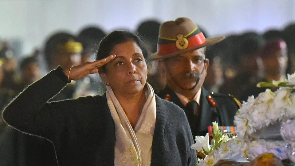 Defence minister Nirmala Sitharaman pays tribute to Captain Kapil Kundu after his mortal remains were brought at AFS Palam in New Delhi on Monday. Captain Kundu was killed along the LoC in Jammu and Kashmir's Rajouri district along with three other soldiers in shelling from Pakistan side.