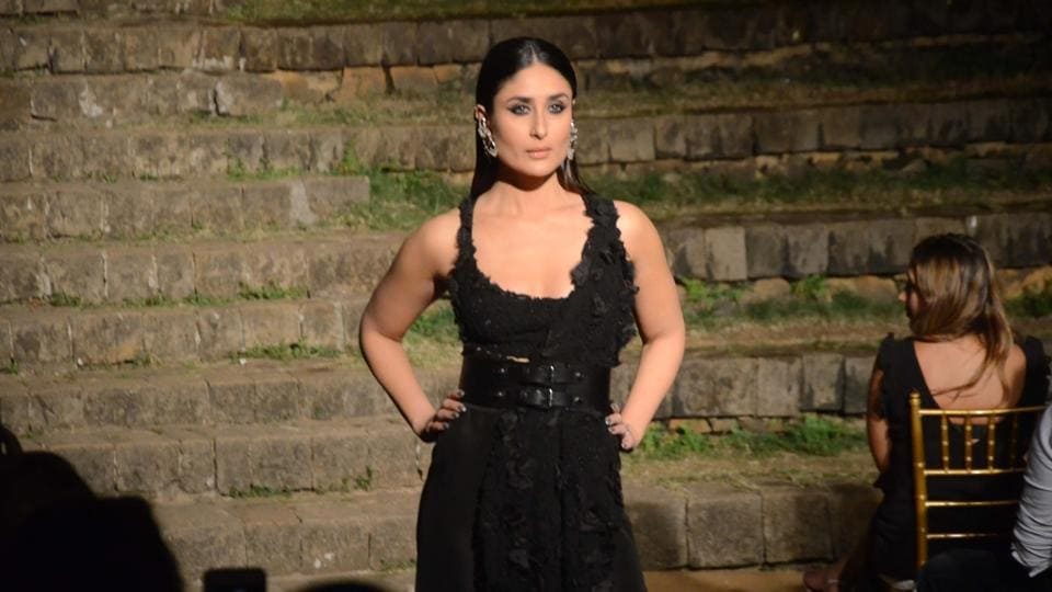 Actor Kareena Kapoor walks the ramp in fashion designer Anamika Khanna's creation at Lakme Fashion Week Summer/Resort 2018 Grand Finale in Mumbai on February 4, 2018.