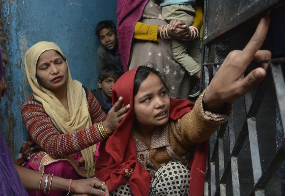 The mother of the two-month-old infant at her house in Vijay Nagar area of Ghaziabad on Monday.