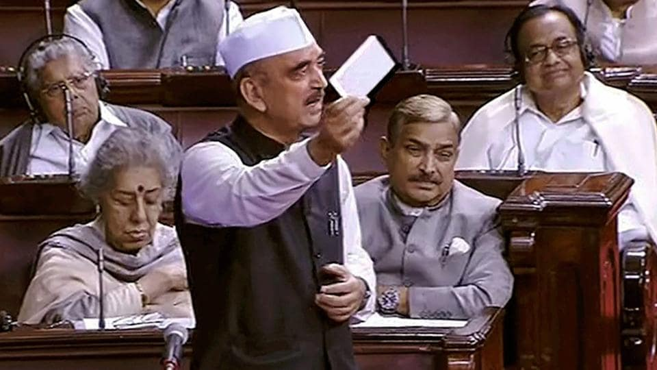Congress leader Ghulam Nabi Azad speaks in the Rajya Sabha in New Delhi on Monday.