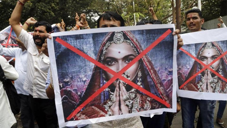 Protesters shout slogans against the release of the Bollywood film