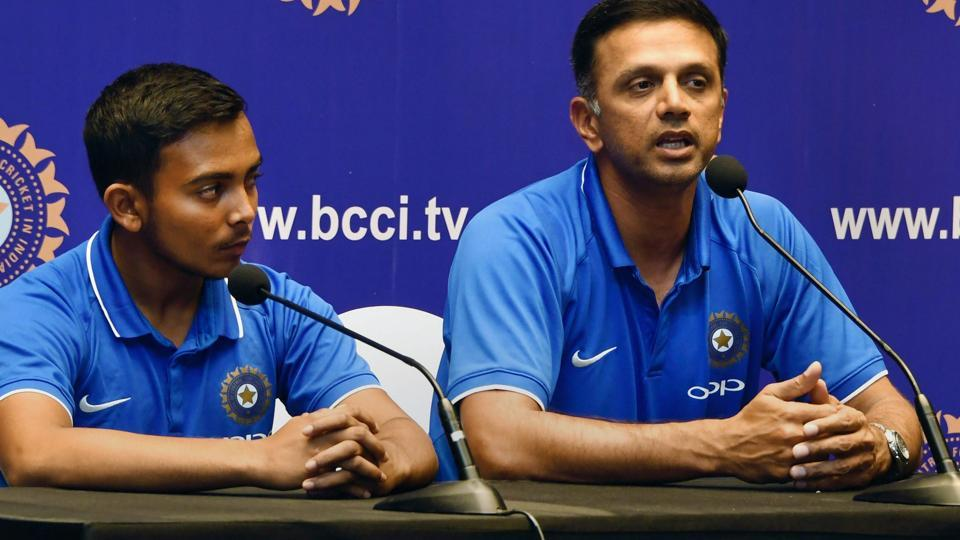 ICC Under-19 Cricket World Cup winning coach Rahul Dravid (right) and Indian U-19 cricket team captain Prithvi Shaw during a press meet after their arrival in Mumbai on Monday.