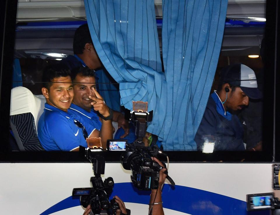 India U-19 cricket team players gesture for the camera. (PTI)