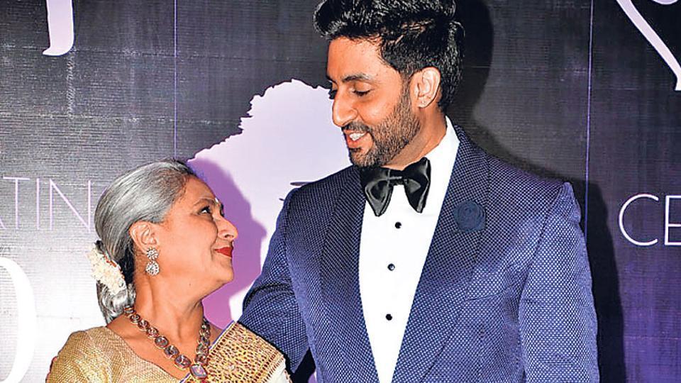 That's a cute click! Jaya and Abhishek Bachchan at Chiranjeevi's birthday bash. (Photo: Viral Bhayani)
