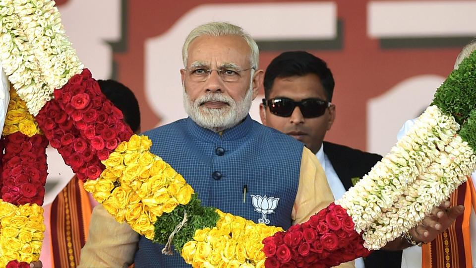 Prime Minister Narendra Modi felicitated at a BJP rally in Bengaluru on Sunday.
