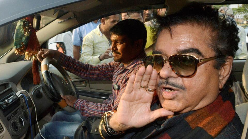 Bharatiya Janata Party MP Shatrughan Sinha speaks to the media on his arrival at Narsinghpur in Jabalpur, Madhya Pradesh, on Sunday.