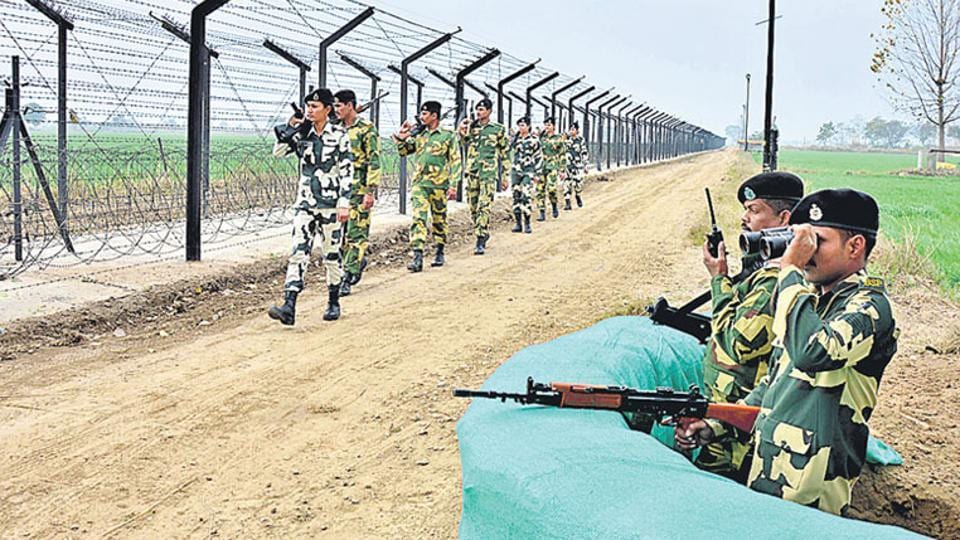BSF jawans continue their vigil along the International Border in Amritsar.