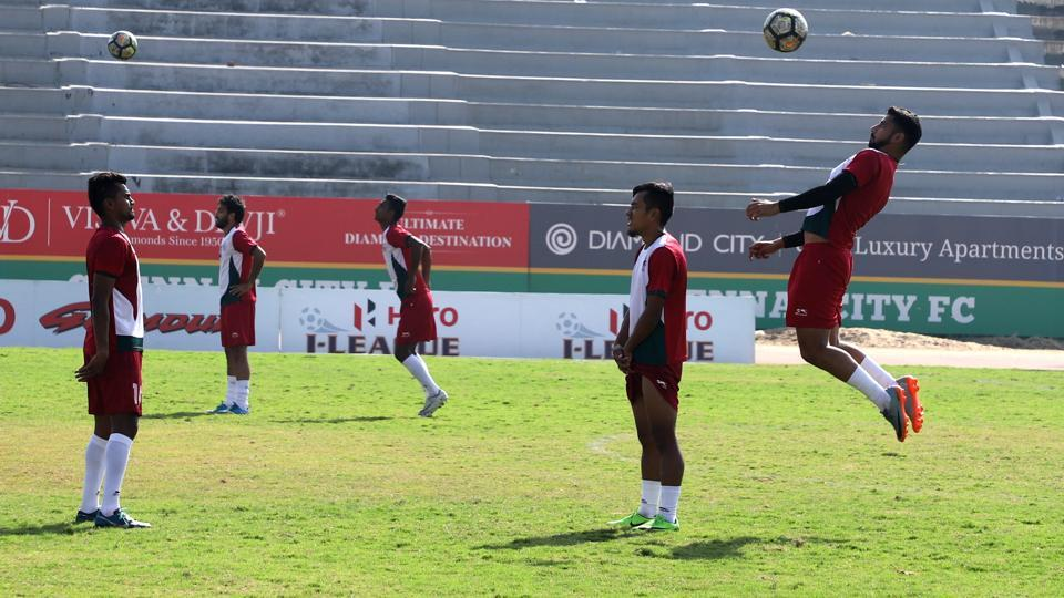 Mohun Bagan players train ahead of their I-League clash against Chennai City FC in Coimbatore on Wednesday.