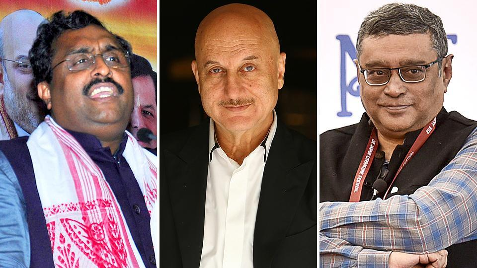 Combination image of (L-R) Ram Madhav, Anupam Kher, Swapan Dasgupta. There was no immediate word from Twitter on the hackings.