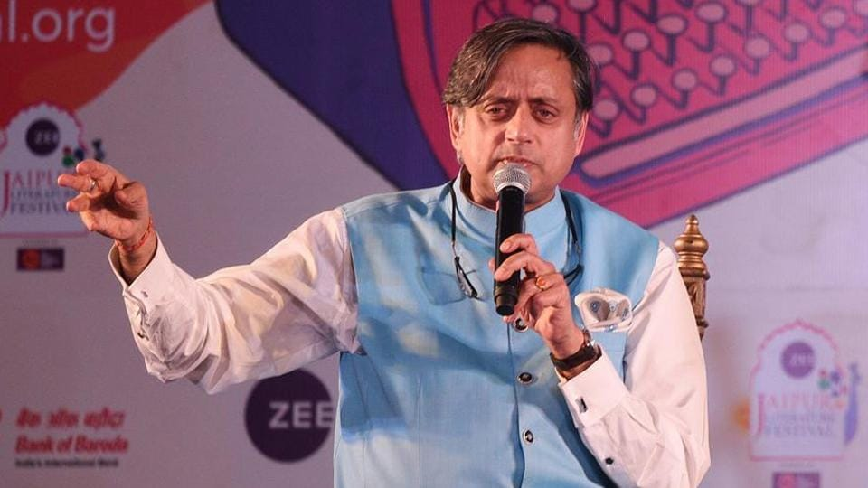 Shashi Tharoor during a session about his new book Why I Am A Hindu at the Jaipur Literature Festival on January 27, 2018.