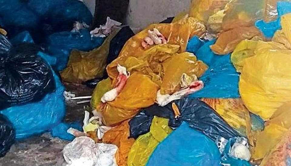 Government Multi-Specialty Hospital, Sector 16, is using yellow, black and blue bags for disposal of waste, while Biomedical Waste Management Rules, 2016, mandate use of yellow, red, white and blue bags.