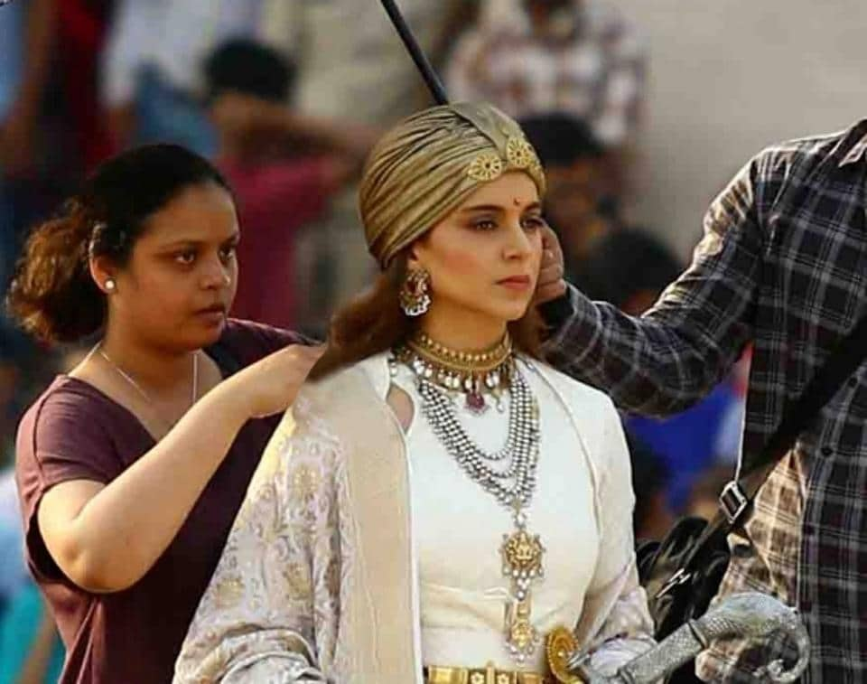 Actress Kangana Ranaut during shooting of her upcoming film