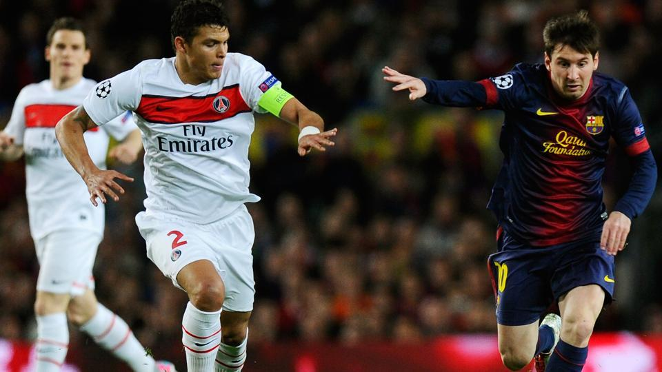 Paris Saint-Germain skipper Thiago Silva (C) heaped praise on Lionel Messi ahead of his meeting with Cristiano Ronaldo's Real Madrid in the Champions League.