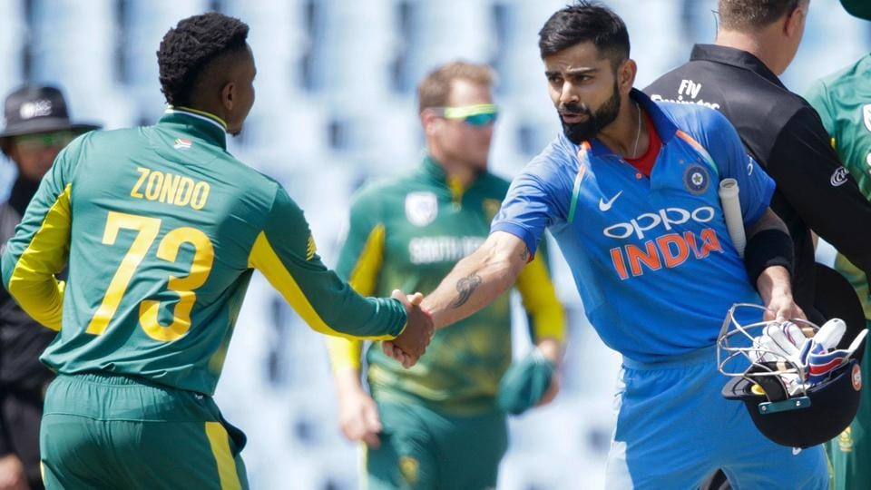 India captain Virat Kohli (R) led the team to wins in the first two ODIs against South Africa.