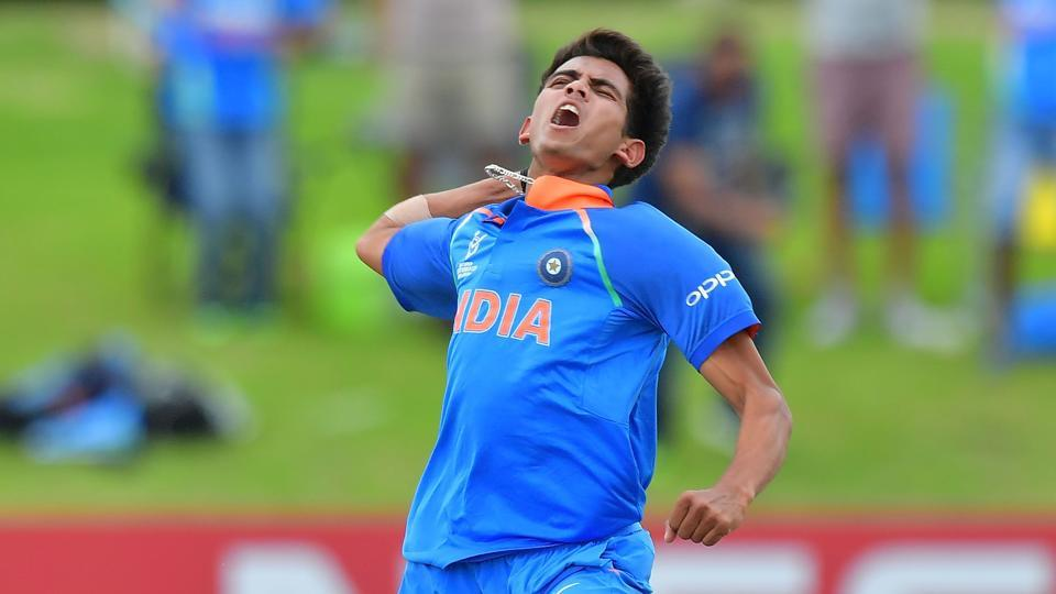 Kamlesh Nagarkoti celebrates during the Under-19 World Cup final between India and Australia at Bay Oval in Mount Maunganui.