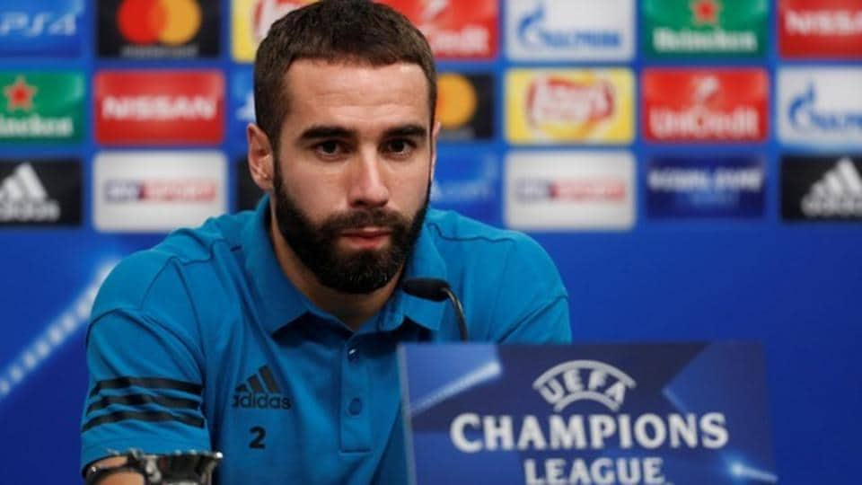 Real Madrid's Dani Carvajal during a press conference.