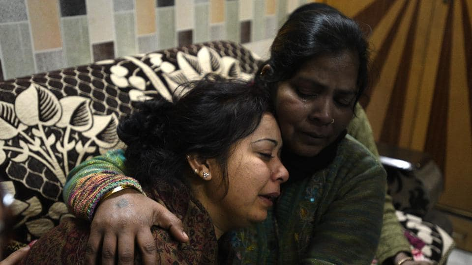 Relatives of property dealer Vinod Mehra mourn his death. Mehra, a resident of Geeta Colony in east Delhi, was returning home with his 15-year-old nephew Kunal after attending a wedding in Alipur when the incident took place.