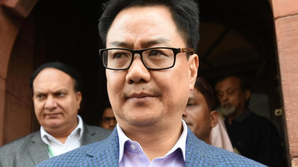 BJP leader and Union minister Kiren Rijiju after attending Parliament during the budget session in New Delhi.