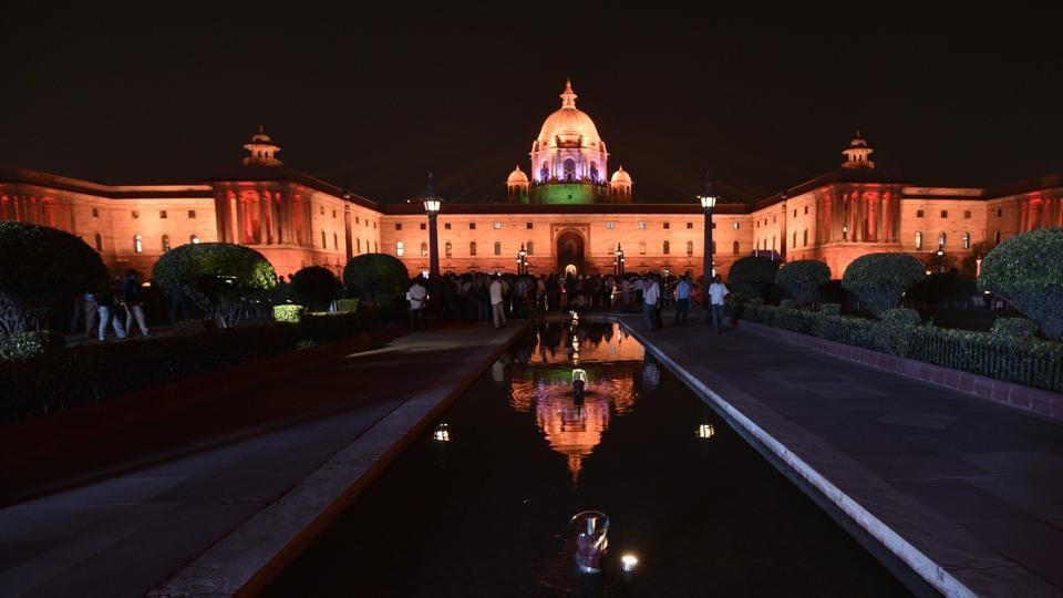 The new Dynamic Façade Lighting of North Block in New Delhi.