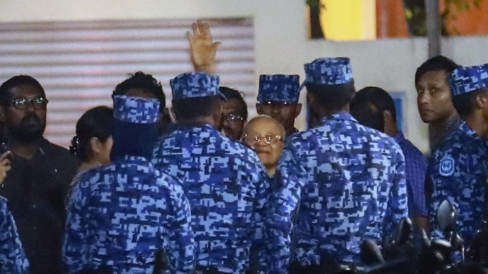Policemen arrest former Maldives president and opposition leader Maumoon Abdul Gayoom, centre, after the government declared a 15-day state of emergency in Male, Maldives, on Tuesday, Feb. 6, 2018.