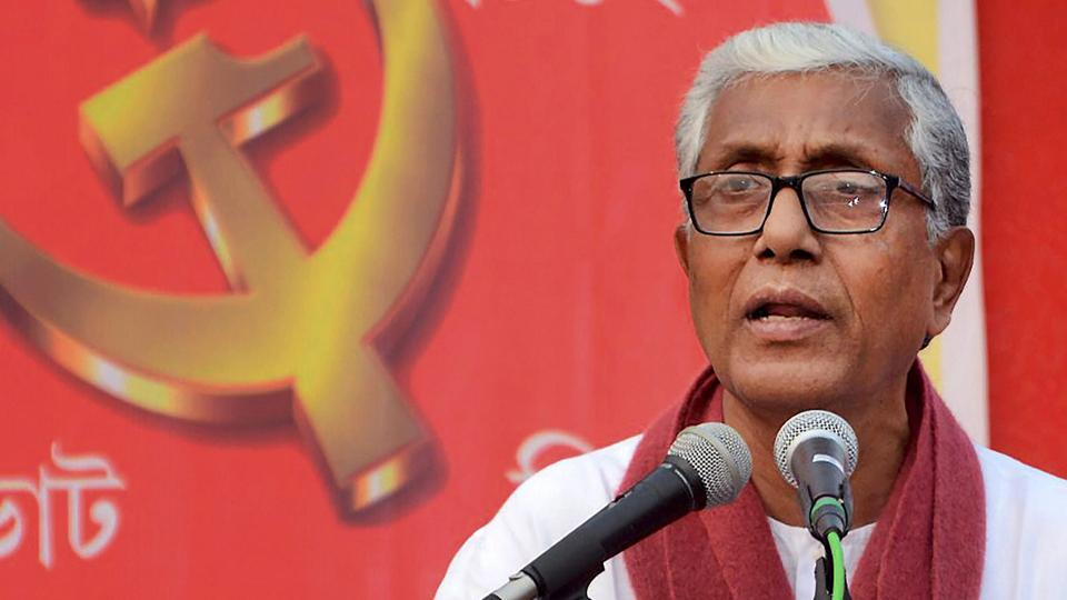 Tripura chief minister Manik Sarkar addresses an election campaign rally at Gandhigram on Saturday.
