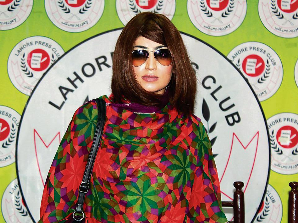 Pakistani social media celebrity, Qandeel Baloch arrives for a press conference in Lahore on June 28, 2016. She was murdered by her younger brother less than a month later.