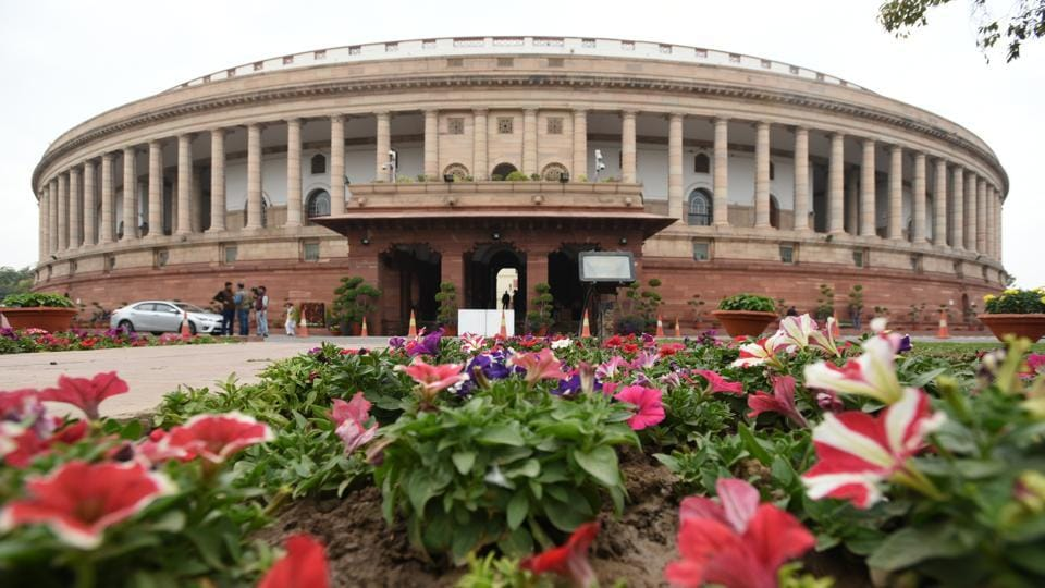 A view of the Parliament House during Budget session in New Delhi.