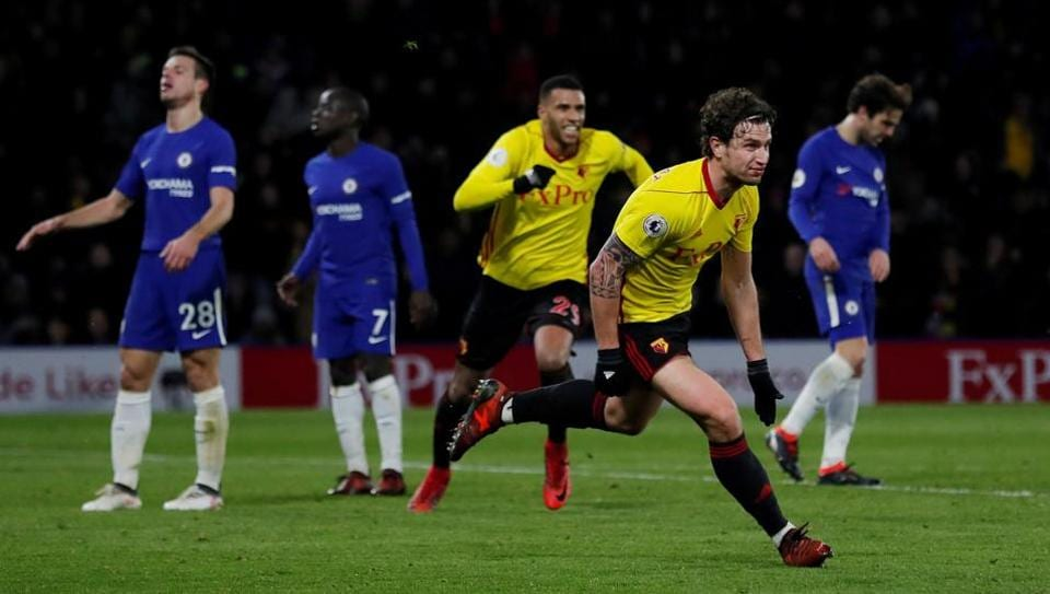 Watford's Daryl Janmaat celebrates scoring their second goal during their 4-1 win over Chelsea in the Premier League at Vicarage Road on Monday.