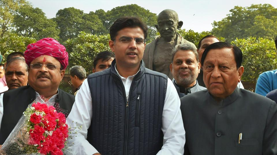 Rajasthan Congress president Sachin Pilot with newly elected party MPs Karan Singh Yadav and Raghu Sharma at the Parliament House in New Delhi on Monday.