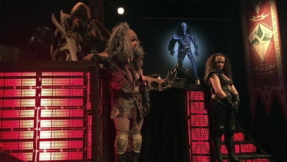 'Klingon ambassadors' hold a presentation of Klingon culture.