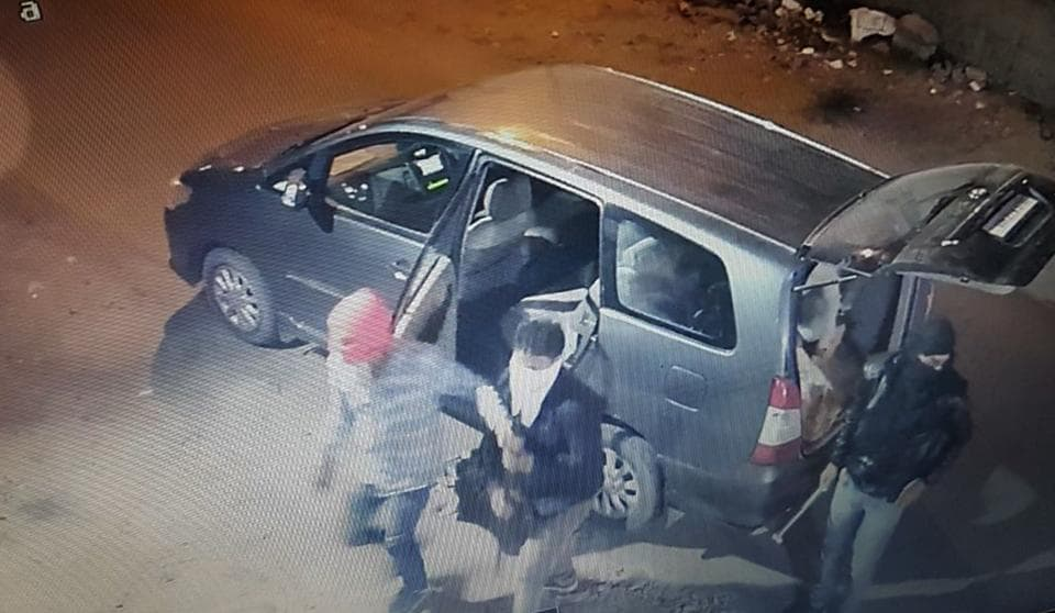 A CCTV footage of a masked person arriving for bank heist in the chest branch of Axis Bank in Jaipur late on Monday night.