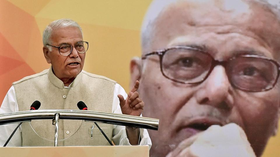 BJP leader Yashwant Sinha speaks during a panel discussion and an interactive session on an analysis of Union Budget 2018-19, in Kolkata on Tuesday.