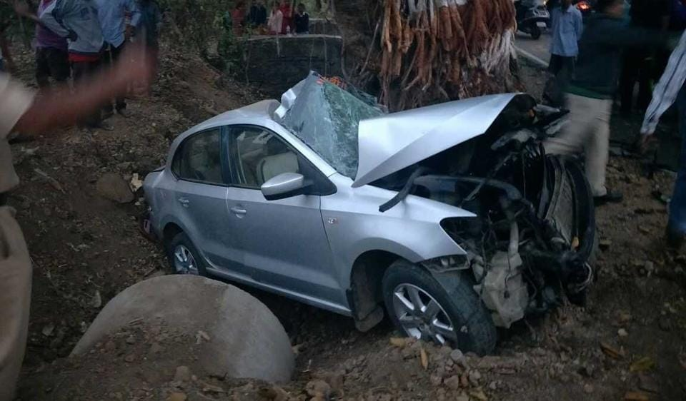 The car had to be pulled out of the ditch with a crane after the accident on Wednesday morning.