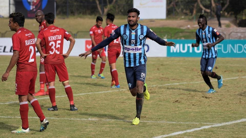 Gagandeep Bali celebrates after scoring for Minerva Punjab FCagainst Shillong Lajong in the I-League on Wednesday.