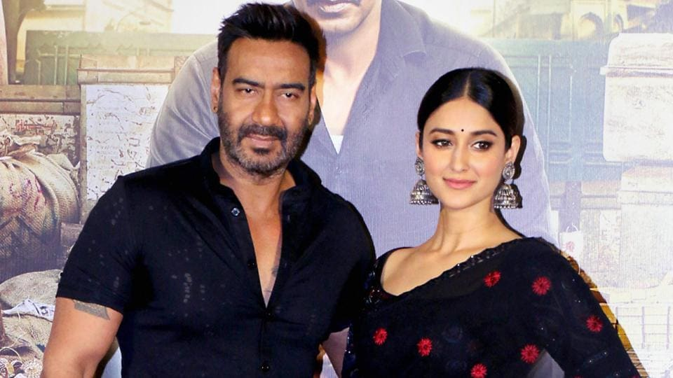 Ajay Devgn and Ileana D'Cruz at the trailer launch of film Raid in Mumbai on Tuesday.