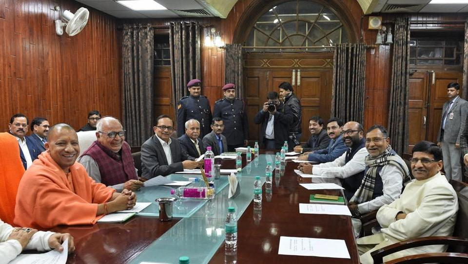Uttar Pradesh chief minister Yogi Adityanath and assembly speaker HN Dixit along with others during an all-party meeting ahead of Budget Session of state assembly in Lucknow on Wednesday.