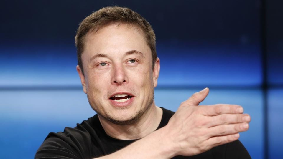 SpaceX founder Elon Musk speaks at a press conference after the first launch of a SpaceX Falcon Heavy rocket at the Kennedy Space Center in Cape Canaveral, Florida, US, on February 6, 2018.