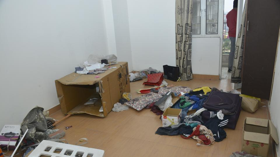 The flat Ghaziabad's Shalimar City from where five-year-old Vihaan was rescued after a gunbattle on Tuesday morning.