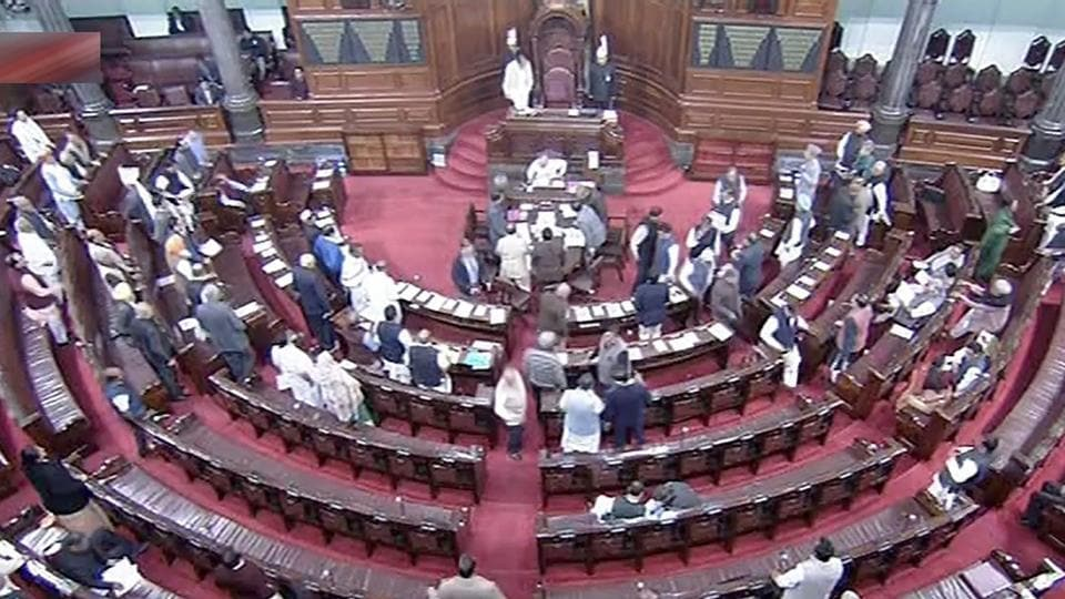 A view of the Rajya Sabha in New Delhi on Wednesday.