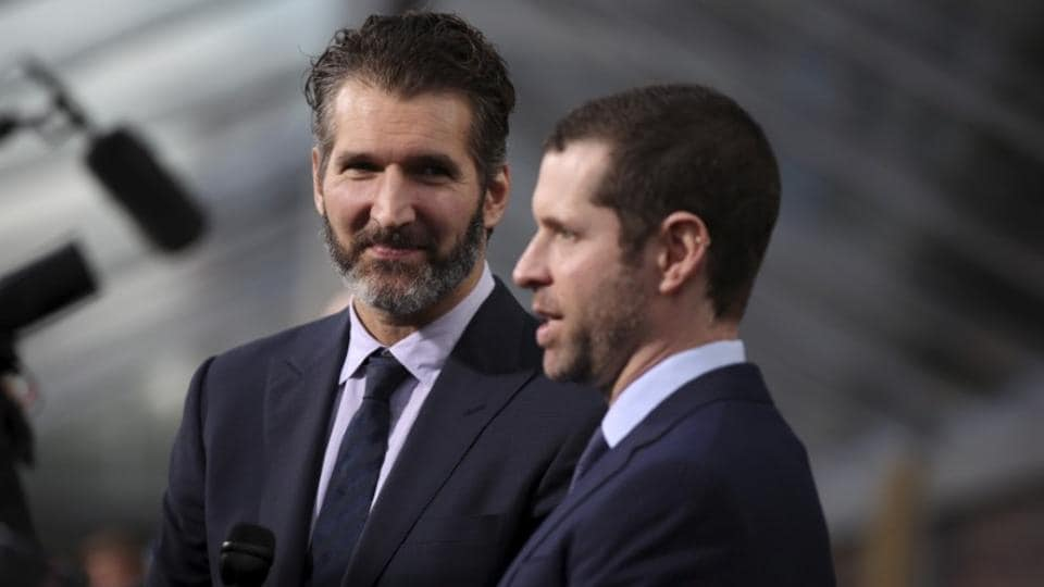 (File Photo) David Benioff (L) and Dan Weiss are the creators and executive producers of hit HBO TV series Game of Thrones.