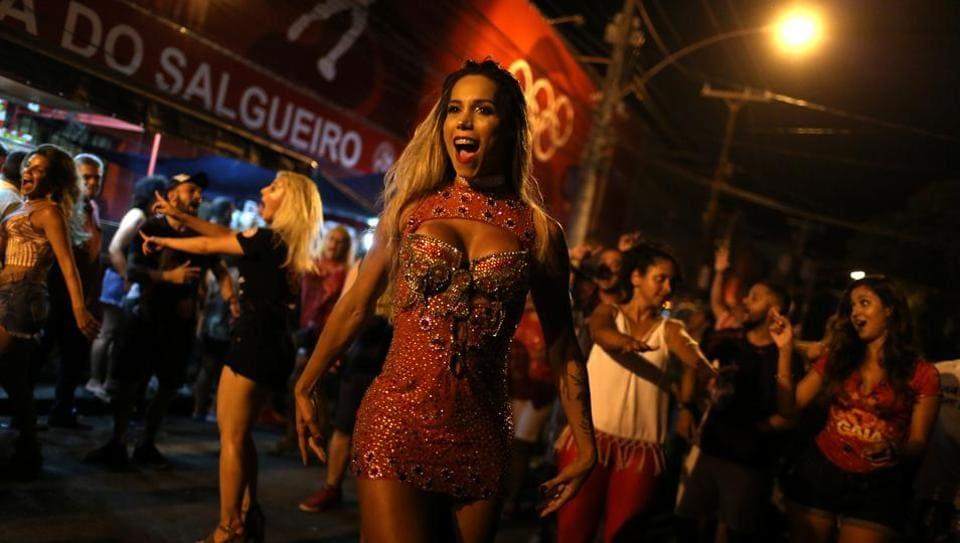 Transgender dancer Kamilla Carvalho performs during the rehearsal of Salgueiro samba school.