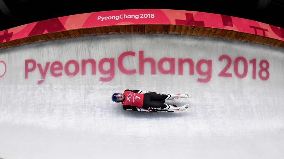 Austria's Wolfgang Kindl takes a corner during a training session for the men's luge singles ahead of the Pyeongchang 2018 Winter Olympic Games. (AFP)